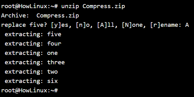 Unzip Without Options