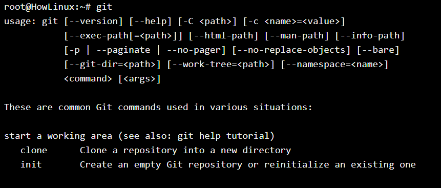 Git Command Help Message