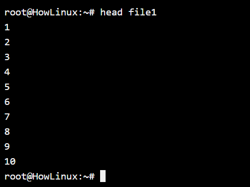 Head Command Default Usage