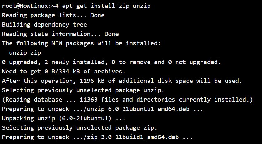 Zip And Unzip Installation