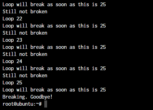 break statement in Linux