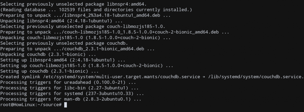 Couchdb Ubuntu Installation Complete
