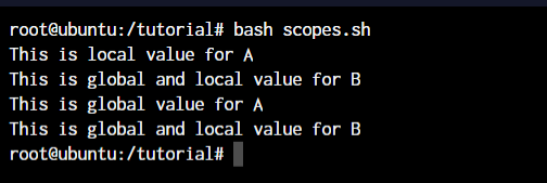 Functions in shell scripts bash variables