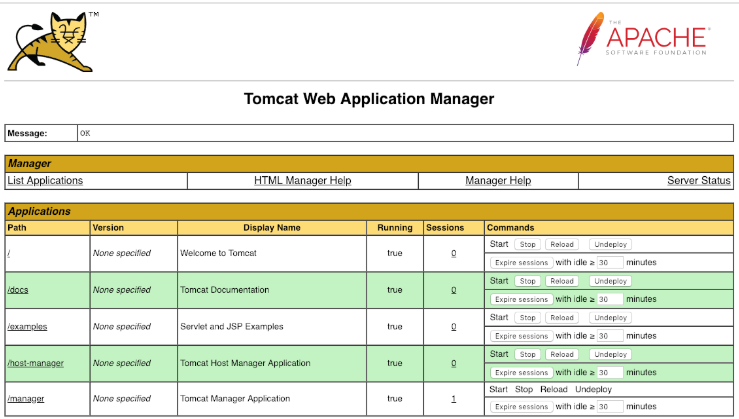 Tomcat Manager Interface