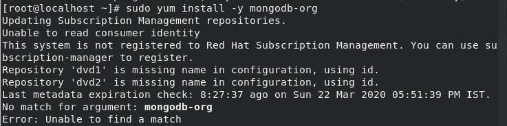 Install MongoDB on CentOS - Update YUM