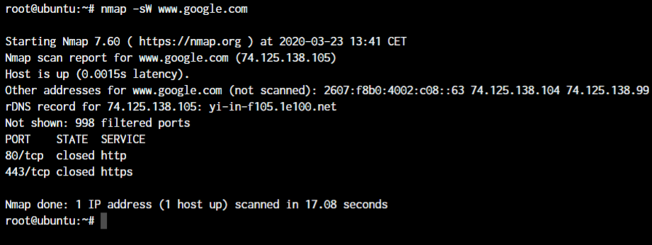 Nmap Window Scan