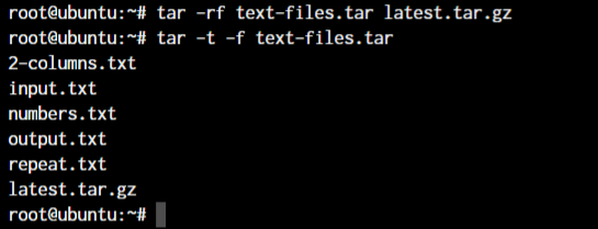Tar Append Files