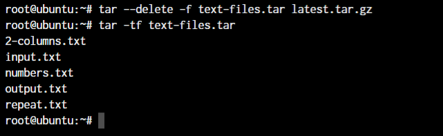 Tar Delete Files