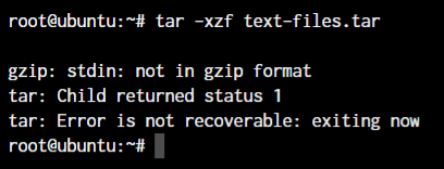 Tar Extract Incorrect File Type