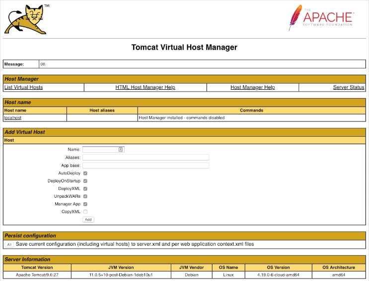 Tomcat Host Manager Interface