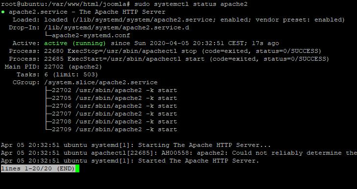Status Of The Service - Install Joomla CMS on Debian