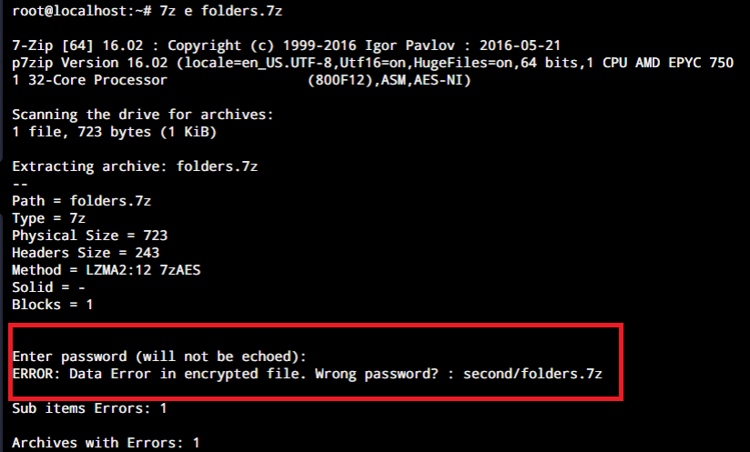 7z Extract Password Archive 1