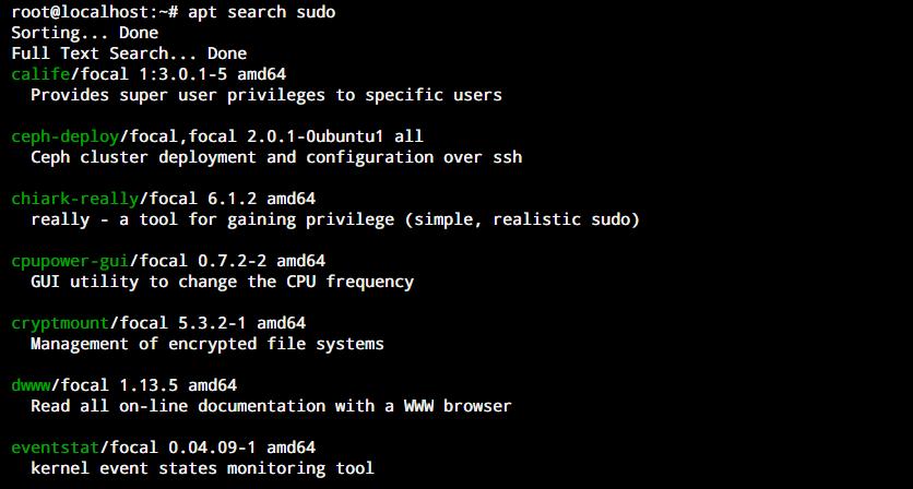 Apt Search Sudo 1