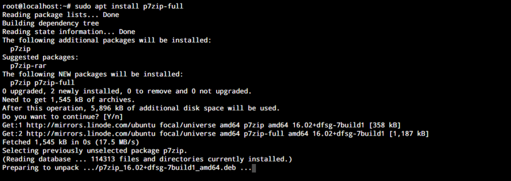 Sudo Apt Install P7zip Full 1