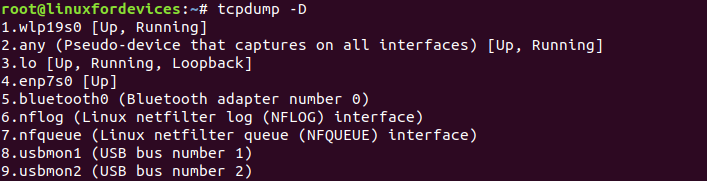 Tcpdump Interfaces