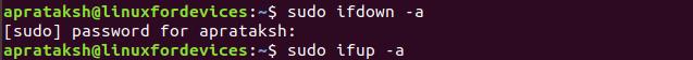 Restart Network Ifdown Ifup