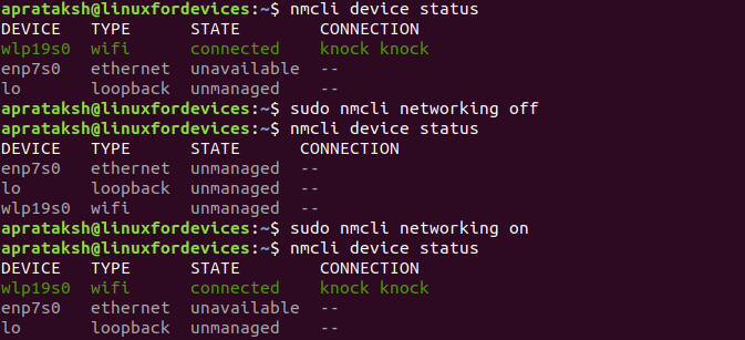 Restart Network Nmcli