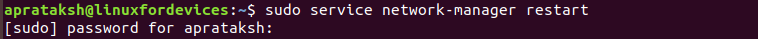 Restart Network Using Service