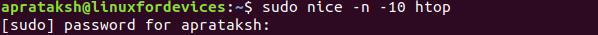 Nice Command Usage