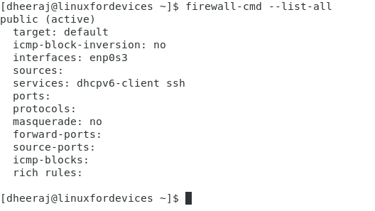 Firewalld List All Command Edited