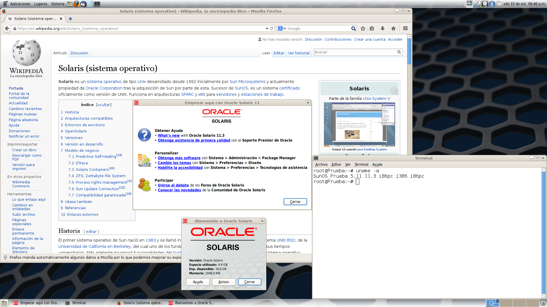 Oracle Solaris 11 Screenshot Running GNOME2