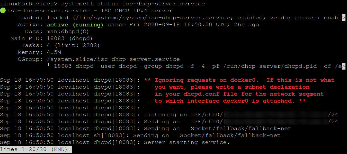 Status Of DHCP Server