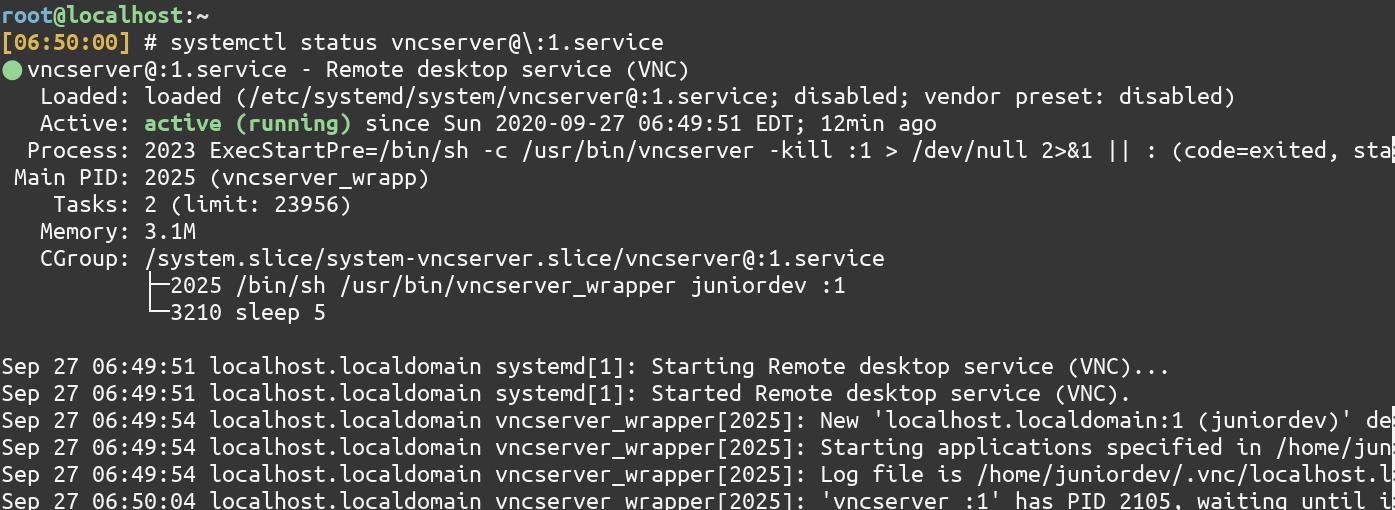 Status Of Vnc Service 1