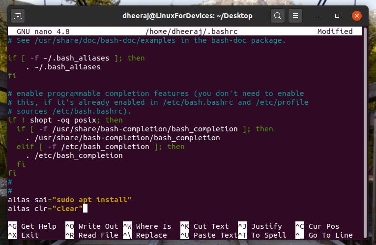 Editing Bashrc File