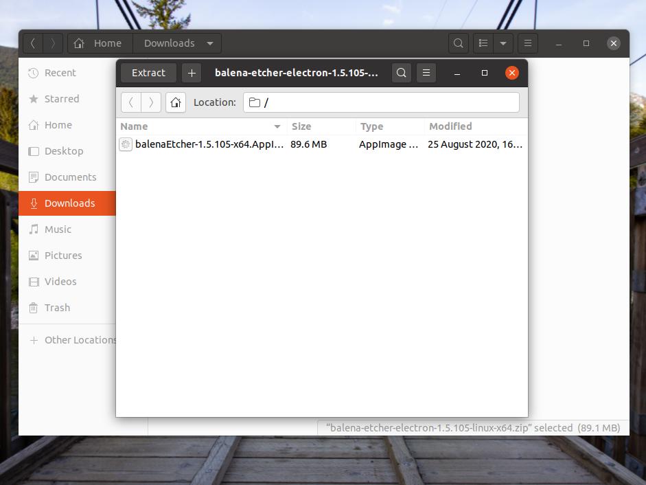 Extracting Zip File Install Etcher on Ubuntu