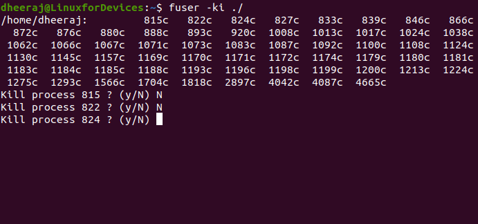 Killing Processes With Fuser