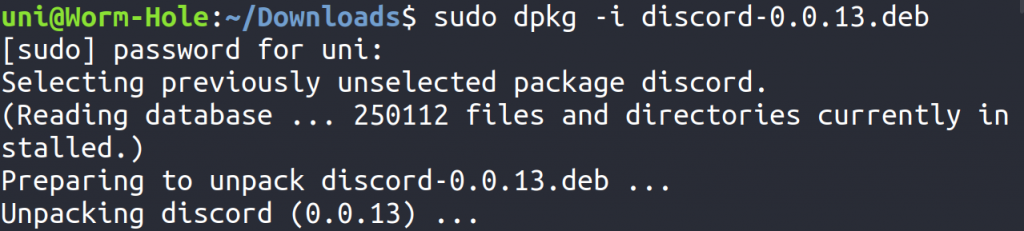 Installing Discord Deb Package