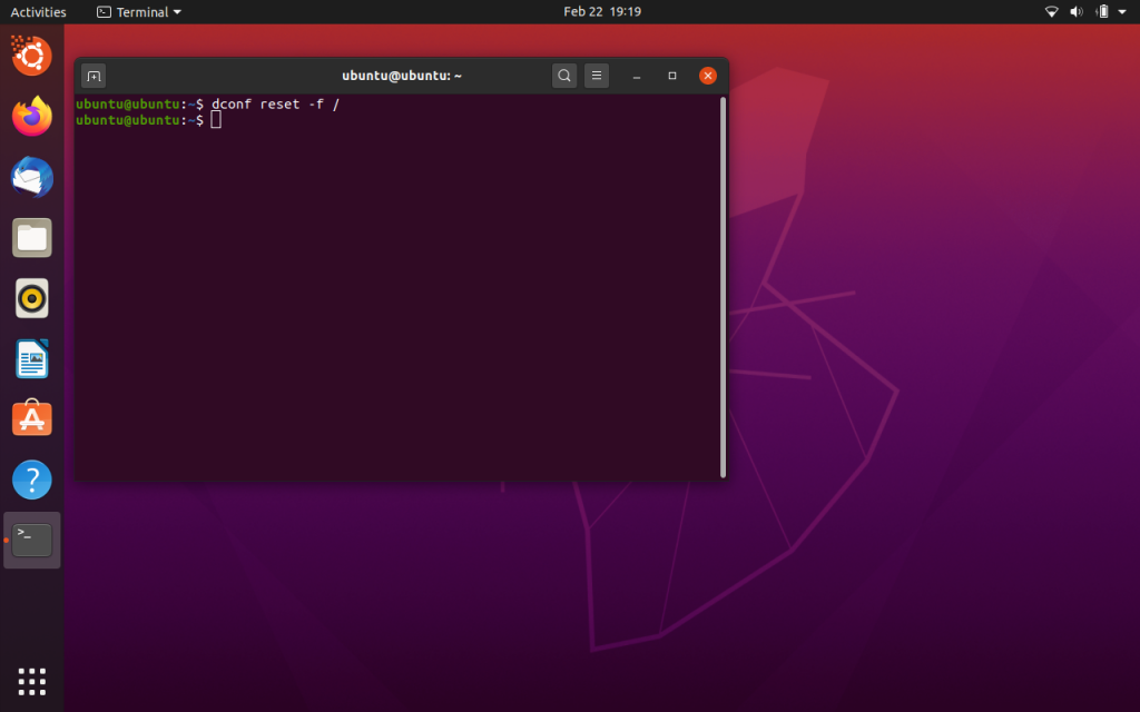 Ubuntu Restored To Default Settings