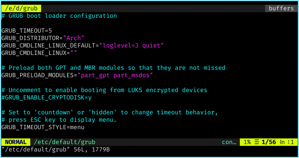 Default GRUB Config