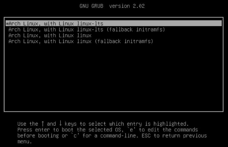 GRUB Menu Listing All Available Kernels