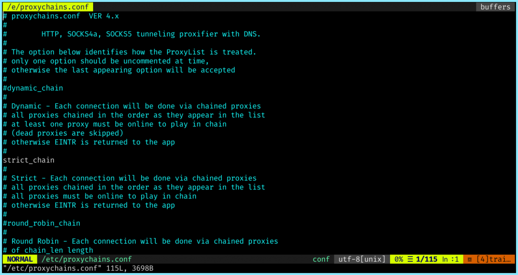 Proxychains Config Opened In Vim