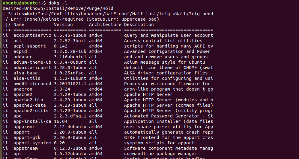 List Installed Packages Using Dpkg
