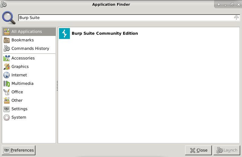 BurpSuite In Application Launcher
