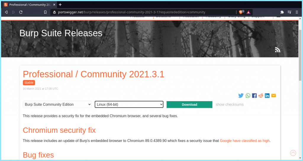 Install Burpsuite Community Edition Download Page