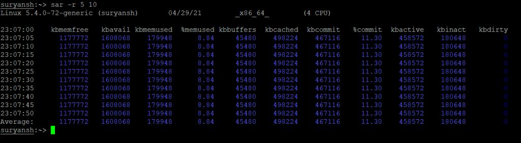 Example 3 Checking Memory Usage