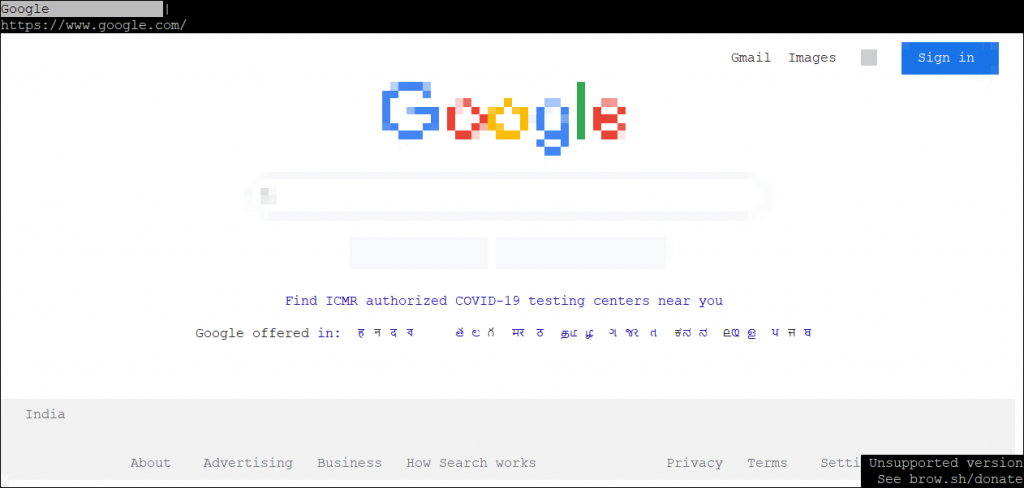 Google On Browsh Text-based web browsers