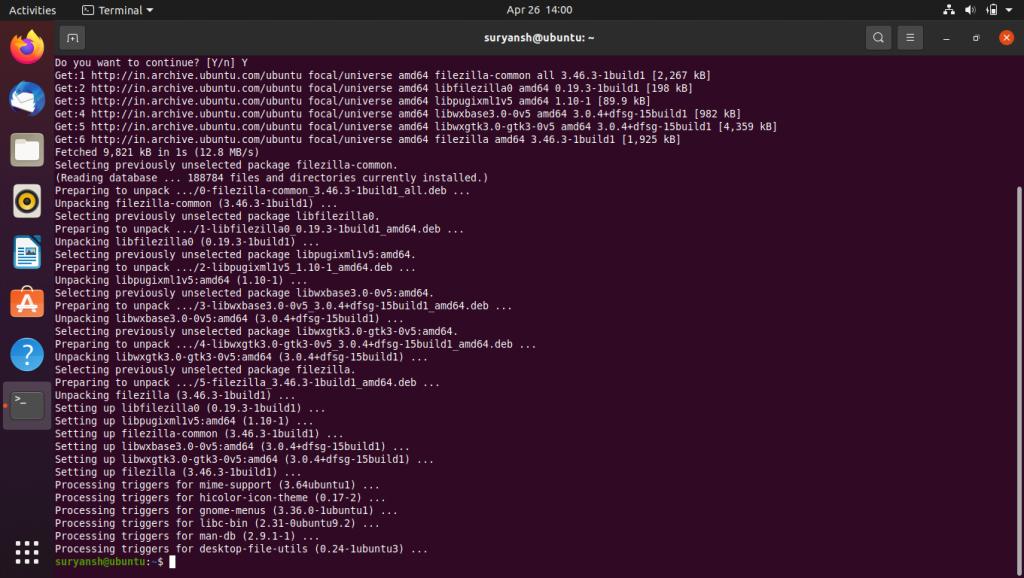 Installing FileZilla Using Terminal FTPS on Ubuntu