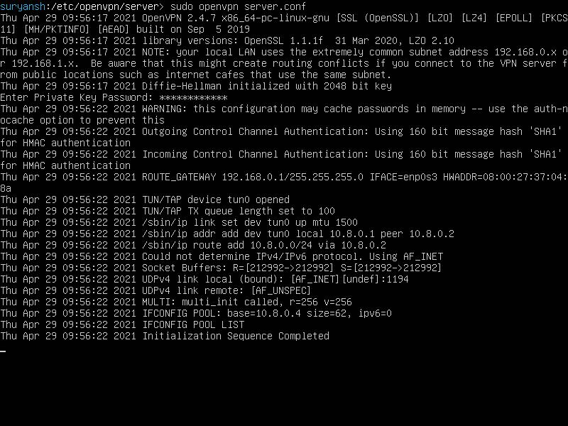 OpenVPN Running