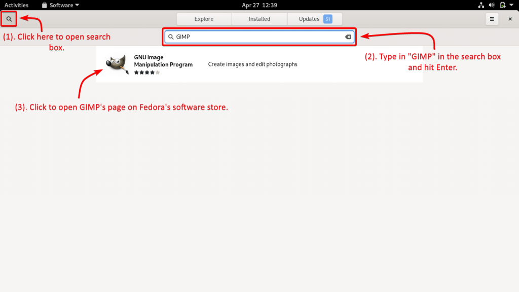 Search For GIMP In Fedoras Software Store