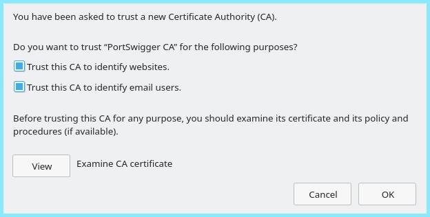 Importing Burps CA Certificate