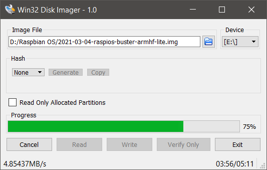 Writing Raspbian Image To MicroSD