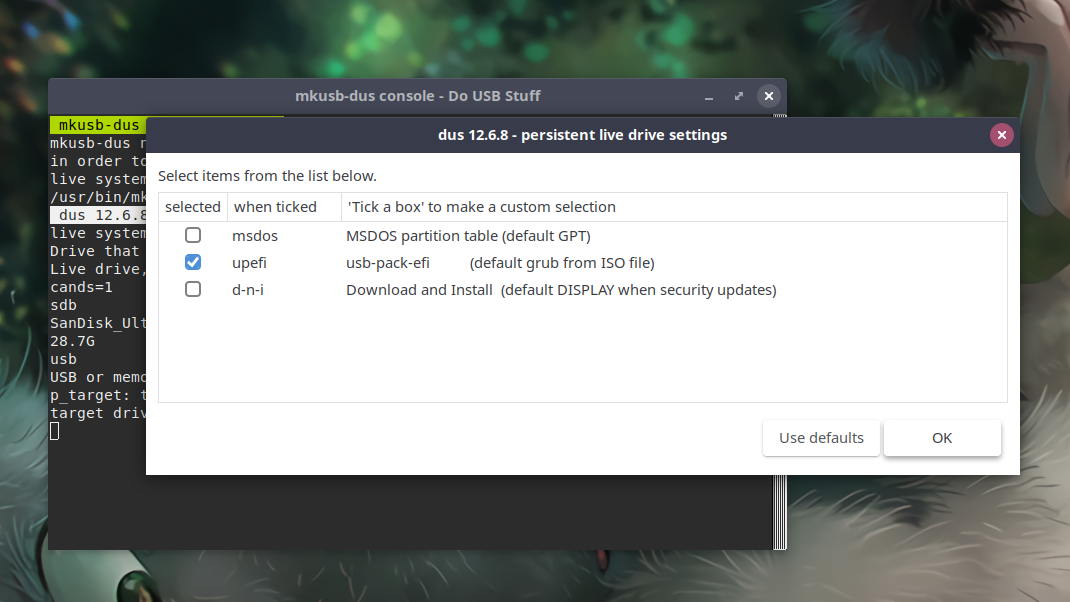 Persistent Live Drive Settings