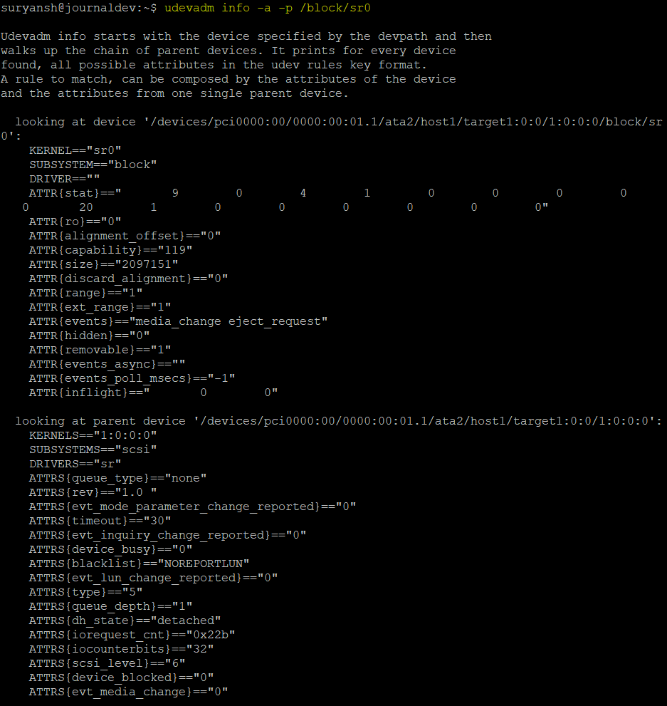 All The Device Attributes With The Udevadm Command 1