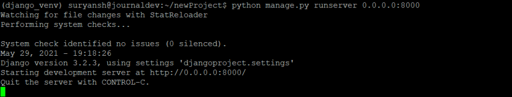 Django Development Server Running