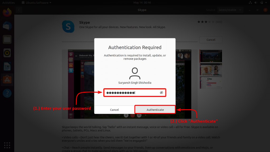 Enter Your User Password To Authenticate