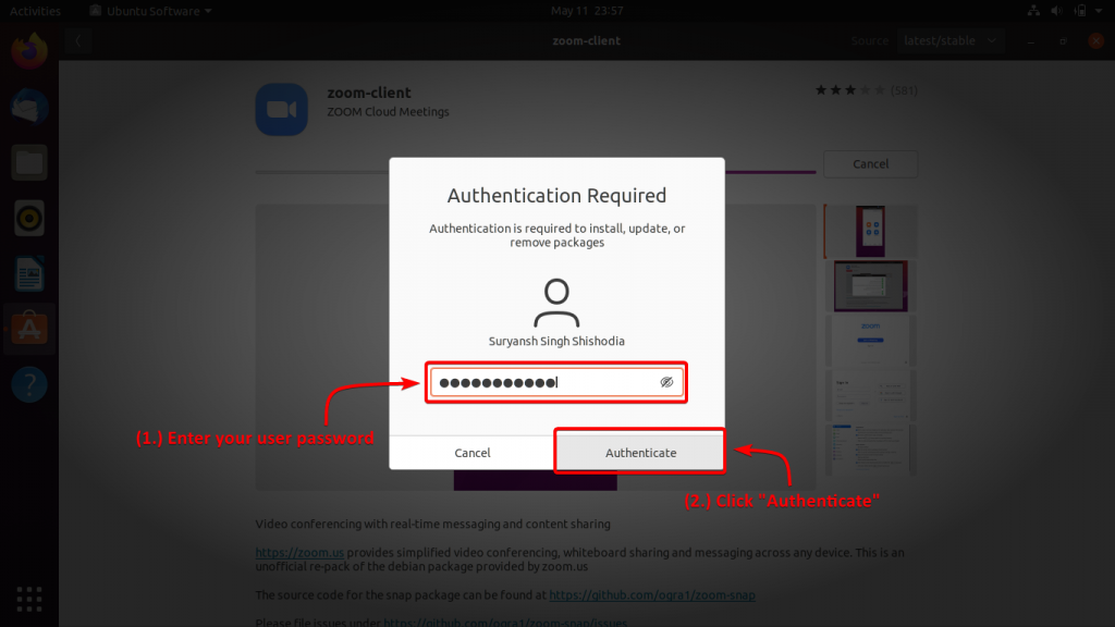 Enter Your User Password To Proceed Further With Installation